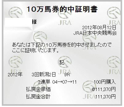 10万馬券的中証明書:日曜日 新潟9R  出雲崎特別 サウンドバラッド 9番人気2着 三連単 04 → 07 → 11 111,370円
