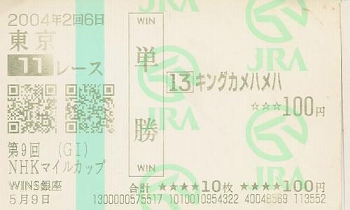 記念馬券 キングカメハメハ(NHKマイルカップ)