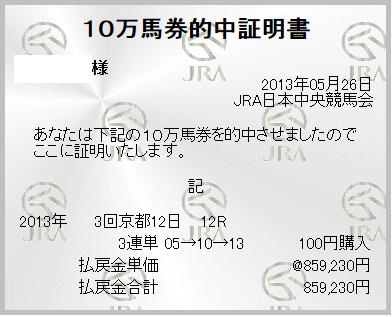 5月26日 京都12R 15番人気のナリタシーズンが3着で三連単 05 → 10 → 13 859,230円