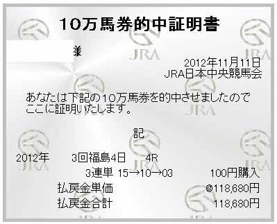 本命クリビツテンギョが2着で三連単 15 → 10 → 03 118,680円ゲット