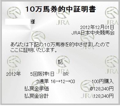 本命ミラグロッサが2着で三連単 16 → 12 → 03 128,340円円ゲット!しました