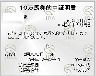 東京5R 10番人気のツキノウサギが2着で三連単 13 → 02 → 15 105,420円