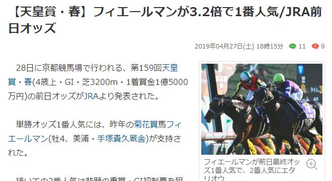 平成最後のG1天皇賞