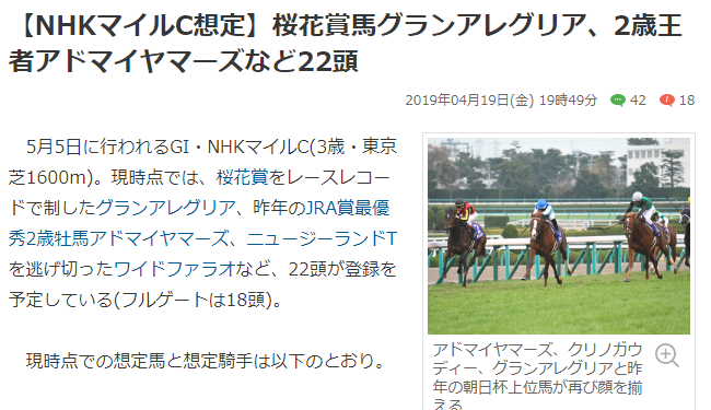 NHKマイル 登録馬